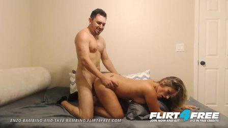 Flirt4Free - Enzo and Skye - Dude w Big Cock Fucks His Hot Girlfriend Hard