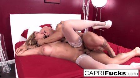 Capri fucks until he cums inside her tight twat