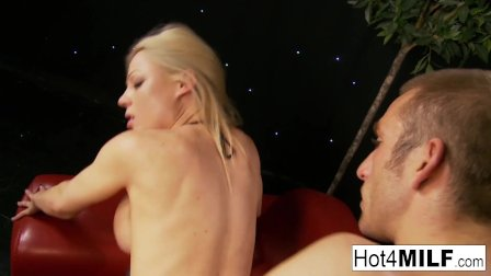 Big boobed blonde MILF gets dicked down in her white stockings