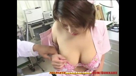 Japanese Nurse with big natural tits gets cum covered Japanese Bukkake Or