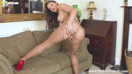 Horny big tits brunette Cleo Summers masturbates in ripped sheer pantyhose