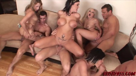 Busty babes Claire and Carly riding hard in big cock orgy