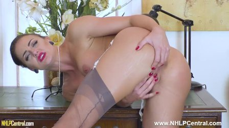 Bossy JOI Cleo Summers strips and masturbates on desk in stockings garters