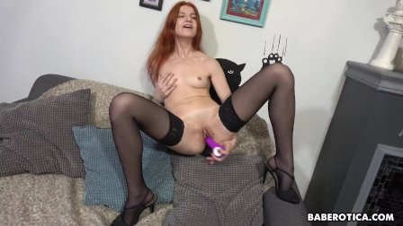 Solo redhead  Atisha is moaning while cumming  in 4K