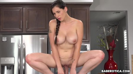 Solo chick  Lilian Stone is riding a huge dildo  in 4K