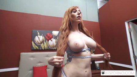 BTSporno On set bj from big tit red head Lauren Phillips