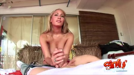 Handjobs Ends With Jizz On Lauras Big Tits