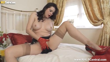 Hot busty Milf Karina Currie wanks in lace gloves high heels vintage nylons