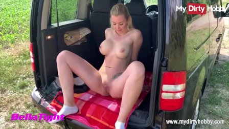 MyDirtyHobby - Outdoor fuck and creampie for busty blonde